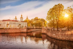 Kryukov canal, Krasnogvardeysky bridge, St. Nicholas Naval Cathe Royalty Free Stock Photo