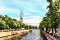 Kryukov kanał i dzwonkowy wierza Nikolsky Sobor royalty ilustracja