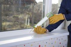 Krzemów okno i sealant Zdjęcie Royalty Free