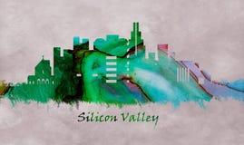Krzemowa Dolina Kalifornia, linia horyzontu royalty ilustracja