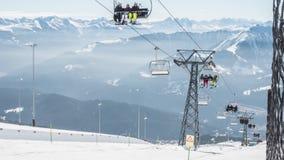 Krzesła dźwignięcia Laax Dolly Szwajcaria Timelapse 4k zbiory wideo