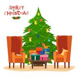 Krzesła i stół z filiżankami herbata, kawa, teapot, poduszka lub książka, Zdjęcie Stock