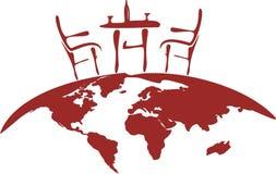 krzesła kula ziemska stylizujący stół Fotografia Royalty Free