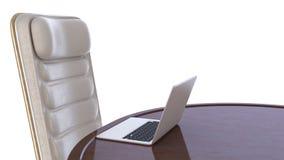 krzesła labtop stół Obrazy Royalty Free