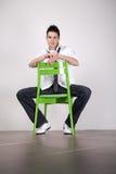 krzesła retro zielony Zdjęcia Royalty Free