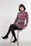 krzesła sukni odosobniona siedząca kobieta Obrazy Stock