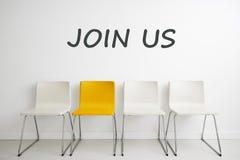 Krzesła tła pojęcie - rekrutacyjny dzierżawienie zatrudnia wywiad Fotografia Stock