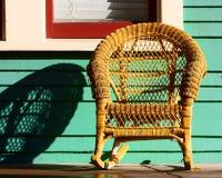 krzesła wicker kolor żółty Obrazy Royalty Free