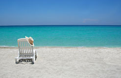 krzesło karaibów na plaży Obraz Royalty Free
