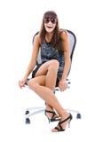 krzesło kobieta biurowa uśmiechnięta Fotografia Royalty Free