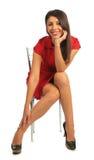 krzesło kobieta smokingowa siedząca Zdjęcie Stock