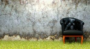Krzesło trawy rozdrabniania stara ściana Obrazy Stock