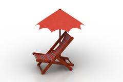 Krzesło zakrywający parasolem ilustracja wektor