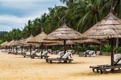 krzeseł plażowych parasolki Obraz Stock