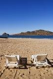 krzeseł plażowych twarzy jelenia wyspa mazatlan do meksyku Obrazy Royalty Free