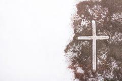 Krzyż i popiół - popiół Środa zdjęcia stock