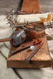Krzyż, gwoździe, korona ciernie i perła, Obraz Royalty Free
