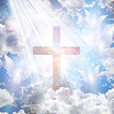 Krzyż i anielskie formy ilustracja wektor