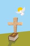 Krzyż i biblia Chrześcijański grób Dusza mężczyzna w formie biały d ilustracji