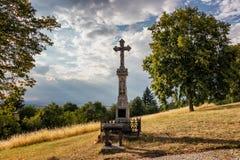 Krzyż na Świętym wzgórzu blisko Olomouc obrazy stock