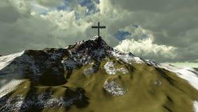 Krzyż na górze śnieżnej góry ilustracja wektor