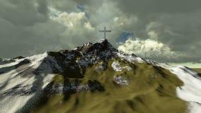 Krzyż na górze śnieżnej góry royalty ilustracja