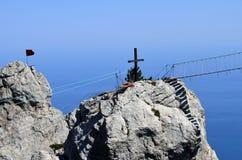 Krzyż na wierzchołku Obraz Royalty Free