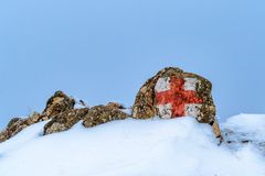 krzyż odizolowywający czerwień znaka biel Zdjęcie Stock