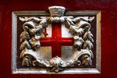 Krzyż St George wśrodku Leadenhall rynku miasto, Londyn, Anglia, Zjednoczone Królestwo, Europa obrazy stock