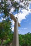 Krzyż w forest-2 kształtuje teren naturę zdjęcie stock