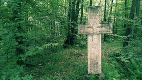 Krzyż w lesie Obrazy Royalty Free
