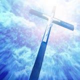 Krzyż w sunrays obrazy royalty free