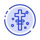 Krzyż, wakacje, Święty, Wielkanocny błękit Kropkująca linii linii ikona, royalty ilustracja
