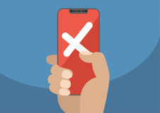 Krzyż wystawiający na czerwonym ekranie sensorowym nowożytny smartphone, pomyślny, odrzuceniu jako pojęcie dla niepowodzenia bezp Obrazy Royalty Free