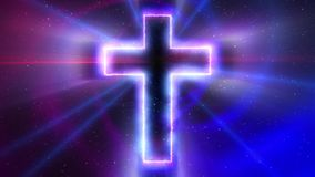Krzyż z gwiazdami 4K i światłem ilustracja wektor