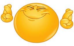 Krzyżować palca emoticon Obraz Stock