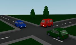 Krzyżować z barwionymi samochodami ilustracja wektor