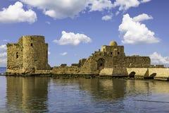Krzyżowa morza kasztelu Sidon Saida południe Liban Fotografia Royalty Free