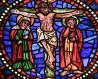 Krzyżowanie Jezus - witraż obraz royalty free
