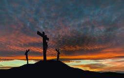 Krzyżowanie Jezus Z Dramatyczną nieba i kopii przestrzenią obraz stock
