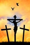 Krzyżowanie przy zmierzchem ilustracja wektor