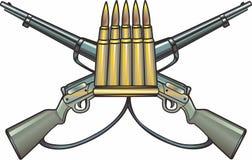 Krzyżujący Ammo i pistolety ilustracja wektor