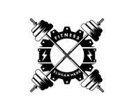 krzyżujący barbel sprawności fizycznej gym sporta logo projekt zdjęcie royalty free