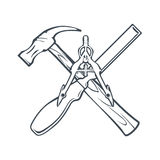 Krzyżujący ręk narzędzia dla Carpenrty, budów odznaki lub etykietka i wektor Obraz Royalty Free