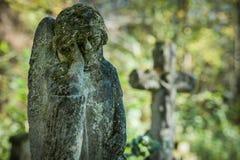 Krzyże na starym zaniechanym cmentarzu Obrazy Stock