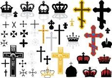 krzyż koronuje set Fotografia Stock