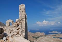 Krzyżowów rycerzy kasztel, Halki wyspa Zdjęcia Royalty Free