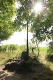 Krzyż zaznacza punkt. Obrazy Royalty Free