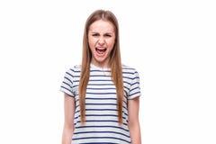 Krzycząca dziewczyna na białym tle Zdjęcia Stock