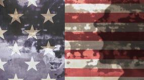 Krzyczący mężczyzna cień i Usa flaga Obraz Stock